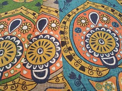 safa green, natural and blue on linen cotton canvas (Scrummy Things) Tags: safa linencottoncanvas spoonflower scrummy sharonturner boho bohemian ogee floral flowers vintage orange gold blue green natural beige