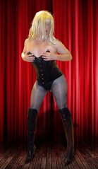 Sorry about the make up :-) (Irene Nyman) Tags: leather corset string thong fishnets tights thigh high stiletto boots black irene nyman breathless burlesque stage
