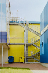 Taste of analog - BLUEandYELLOW (Aleirbag-o) Tags: industrial blue yellow color prague mall czech exterier sky grass city building rubish easy clean pure simply