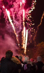 Firework Love (Jenna Woodward) Tags: pink winter red sky cold night happy 50mm nikon couple buxton fireworks smoke crowd watching lovers bonfire d7000