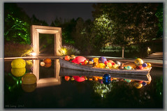 Floating through the Door (d-day buff) Tags: reflection chihuly water glass night lights dallas arboretum dallasarboretum