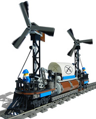"""Cyclone"" Windmill Locomotive (aillery) Tags: green windmill train energy lego wind union rail locomotive hybrid propeller cyclone alternative steampunk windpowered railship"