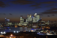 London view at dusk (Vladimir Zakharov  ) Tags: uk london skyline twilight skyscrapers dusk vivid financialdistrict docklands bluehour canarywharf riverthames londonview commercialdistrict