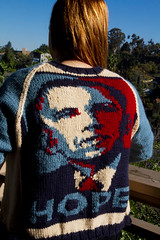 Obama-Rama Cardigan (iwriteplays) Tags: sweater fo obama cardigan 2012 steeking knittingblog obamarama