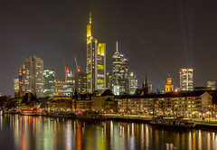 Frankfurt at night (cfaobam) Tags: bridge blue light orange reflection water yellow skyline architecture night skyscraper canon reflections river germany deutschland lights evening am europe long exposure european cityscape hessen slow skyscrapers frankfurt main tripod central bank hour highrise banks commerzbank ecb deutsche hesse mainhattan ezb zentralbank deutschherrnufer 650d europische bankfurt deutschherrnviertel cfaobam