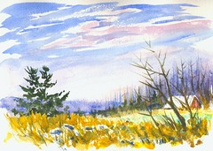 West Millbrook Road (Artist Naturalist-Mike Sherman) Tags: november art rural landscape michigan farm transparent onlocation notphotography midwestern watercolorpainting pleinaire midmichigan danielsmithwatercolors