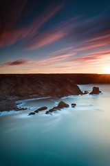 Smooth Sunset  [Explored] (Martin Mattocks (mjm383)) Tags: longexposure sunset seascape water clouds cornwall horizon smooth coastline streaky portreath canoneos5dmarkii cornwalllandscapes mjm383 martinmattocksphotography