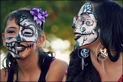Facepaint designs (K. Sawyer Photography) Tags: girls portrait holiday flower festival kids children dayofthedead death skull glasses costume jewelry parade celebration mexican diadelosmuertos earrings facepaint southvalley albuquerquenewmexico westsidecommunitycenter muertosymarigolds 1250isletasw