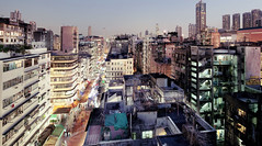 Hong Kong Sham Shui Po (Thomas Birke) Tags: street urban rooftop electric night dawn lights twilight neon hong kong illegal po organic development sham antennas dwellings shui apliu