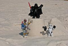 Boba Fett Builds a Sandcastle (Bradley Nash Burgess) Tags: beach toy toys sand nikon stormtrooper bobafett boba darthvader sandcastle empirestrikesback returnofthejedi fett bountyhunter d80 nikond80