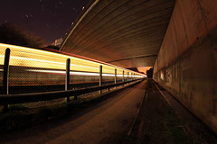 Train Trails alternative angle #2 (Rob Pitt) Tags: longexposure bridge lines car train point yahoo cheshire tracks trails editorial 8mm vanishing merseyrail m56 samyang