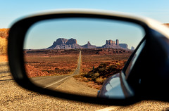 Rear View Monument Valley (Jeff Clow) Tags: road landscape mirror utah monumentvalley milemarker13 tpslandscape