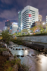 Cheonggyechong Stream Viewpoint (Charn High ISO Low IQ) Tags: longexposure nightphotography canon eos canal rocks stream cityscape seoul citylights urbannature southkorea hdr pse waterflow cheonggyecheon 600d