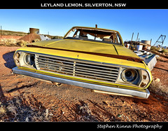 Leyland Lemon, Silverton, NSW (Stephen Kinna Photography) Tags: door old abandoned car yellow neglect sedan photo lemon rust desert silverton decay 4 neglected engine rusty australia front chrome rusted nsw rubbish damage newsouthwales outback grille wreck damaged bonnet wrecked hdr highdynamicrange decayed decaying brokenhill leyland trashed leylandp76 p76 photoengine oloneo