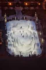 Millennium Park Ice Rink #2 (mckenziemedia) Tags: park winter chicago motion blur ice canon illinois movement mark skating millennium ii rink 5d pentacon f28 sonnar 180mm