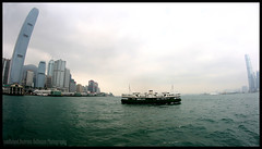 Star Ferry Tales (van heland) Tags: white green water ferry skyscraper island star wasser cloudy fisheye hong kong grn kowloon connection fhre hochhaus verbindung weis bewlkt islang