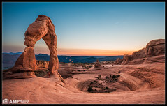 Delicate Proposal (Aaron M Photo) Tags: trip wedding light sunset vacation southwest love nature beautiful beauty car rock landscape utah engagement nationalpark nikon sandstone kiss kissing couple desert parks arches land moab lighttrails delicate proposal archesnationalpark delicatearch d800 rockformation cartrails utahsymbol aaronmeyersphotography