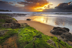 Woolamai Beach - Phillip Island (stevoarnold) Tags: ocean sunset color beach water clouds spectacular moss rocks australia victoria sunburst phillipisland lightshow capewoolamai woolamaibeach pinnacleswalk