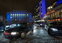 Nobel Prize 2012 (Michael Cavn) Tags: street city longexposure blue winter light red white snow black reflection building ice car architecture outdoors europe exterior traffic sweden stockholm sergelstorg sverige scandinavia hdr 2012 nobelprize