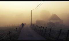 hurry up (Eneade) Tags: autumn house mist france silhouette fog canon fence person side country single 600d 35l laravoire eneade hasanyonenoticedthedonkeys