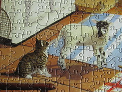 Farmhouse Kitchen - detail 4 (Leonisha) Tags: cat chat puzzle lamb katze jigsawpuzzle lamm