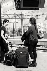 Sounds like a weekend escape (Miguel Da Silva Photography) Tags: station centraal central amsterdam netherlands people portraiture portrait blackandwhite monochrome trip travel travelers tourist train baggages