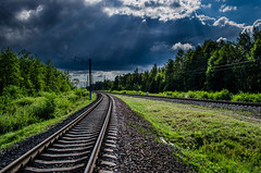 On the bifurcation of railways (ivan_volchek) Tags: railways clouds light beautiful
