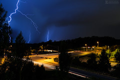 Rooftop Lightning (Rick Sause Photography) Tags: ricksausephotography rick sause photography photograph photo weather lightning storm thunder night exposure nighttime time highway road street blue rain thunderstorm interstate 270 i270 maryland md beltway stormy clouds landscape skyscape sky ngc ngs