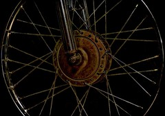 spokes in the night (Pejasar) Tags: bicycle tire wheel spokes dark night geometric pattern metal rust metallic antigua guatemala