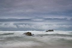 Tempestuous. (Andy Bracey -) Tags: bracey andybracey cornwall lustyglaze newquay england sea stormy tempestuous rocks longexposure blur motion waves atlantic coast coastal seascape landscape leefilters neutraldensity littlestopper cloudy