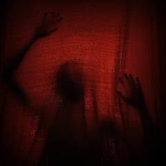 Curtain Call (jonathanchap) Tags: fineart conceptual darkart red selfportrait
