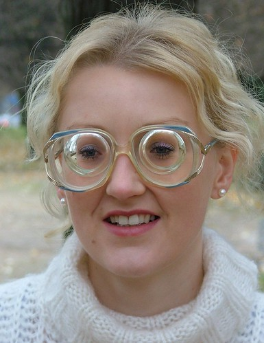 27e3b6b86866 Hot blonde girl with glasses wearing oversized vintage glasses with super  strong -23.5 -