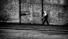 Taking the rough with the smooth. (Mister G.C.) Tags: blackandwhite bw image streetshot streetphotography photograph monochrome urban town city wall man male guy bald tattoos gritty grunge zonefocus zonefocusing snapfocus ricoh ricohgr pointshoot mistergc schwarzweiss strassenfotografie scotland britain greatbritain gb british uk unitedkingdom europe