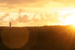 LIGHTHOUSE IN THE SUN (Sven Dost) Tags: lighthouse sylt list leuchtturm sun sonne northsea nordsee germany deutschland sunny evening sonniger abend sunday sonntag blendenflecke rain before cloudy orange nikon d5100 sigma 105mm sunset sonnenuntergang beautiful europe