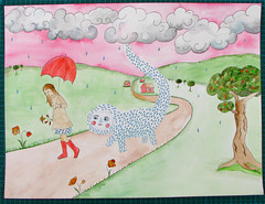 After A Visit With Her Friend In The Country, Lucy Is Followed Home By The Rain Monster (Fauna Finds Flora) Tags: girl woman rain rainmonster trees cloud sunset path nature countryside field country orangetree poppy hills umbrella rainboots bouquet flowers art illustration folkloric story fairytale folk beast creature animal monster painting clouds faunafindsflora