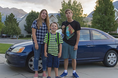 First Day of School - 2016 (aaronrhawkins) Tags: firstday backtoschool excitement indifference teenager angst reluctance morning highschool backpacks children family smiles happy starting jessica joshua jackson aaronhawkins car automobile coupe portrait eyeroll