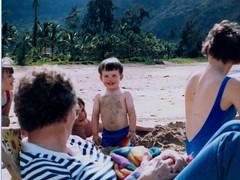 Michael with a Sandy Chest - c1983 (kimstrezz) Tags: 1983 familytriptohawaiic1983 hanaleibay kauai michael gran auntcarol