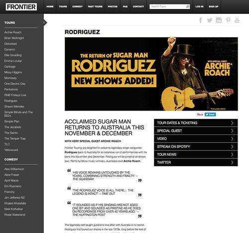Rodriguez - Australian Tour - Concert Promoter Frontier - Photography Doug Seymour