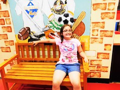 ANGELINE GETS BENCHED HBM (Visual Images1) Tags: hbm bench monday angeline granddaughter discoverycenter binghamton newyork