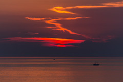 Calm (Marua erjal) Tags: croatia poletje sea summer vrsar water boat reflection warm romantic clouds calm