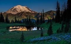 Spring Morning at Tipsoo Lake (PhotoCatcher0430) Tags: mountain water dawn sunrise sky blue snow flowers summer national park rainier