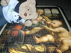 Mum and baby (pefkosmad) Tags: jigsaw puzzle leisure hobby pastime ravensburger 1000pieces complete leonardodavinci davinci painting art religious madonnadelgarofano medieval middleages italy tedricstudmuffin ted teddy bear plush fluffy soft stuffed toy madonnaofthecarnation madonna mary jesus