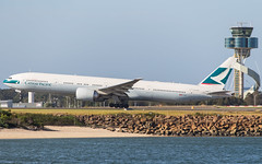 B-KQX (SydneyAeroSpotter) Tags: boeing 777 airplane aircraft airport air airline sydney australia departure cathy plane rotation beach