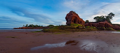 An evening at Paddy's Island - panorama (Nancy Rose) Tags: medford novascotia paddysisland beach bayoffundy lowtide sandstone rock oceanfloor sandandmud moonrise sunset rockformations 7477pano2