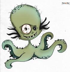 Dan (r__a__r__o) Tags: bigeye illustation draw drawing octopus hand ilustración photoshop art ugly