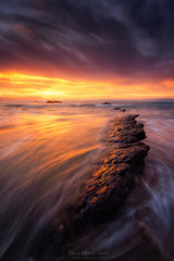 Barrika (Mimadeo) Tags: rock sunset beach nature water spain bizkaia basque natural biscay coastline paisvasco barrika rocks seascape orange warm sea landscape ocean coast euskadi vizcaya country sky scene basquecountry