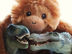 Friends. (Jenne Barneveld) Tags: friends friendship toys monkey dinosaurus dino trex together