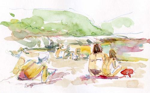 Sur la plage de Port Guen