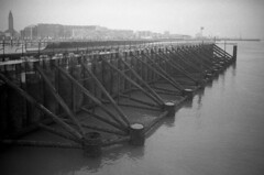 2152.Le Havre soon in the mist (Greg.photographie) Tags: sea mer mist film analog port wideangle normandie 28 miranda ilford fp4 25mm 125 lehavre sensorex pellicule r09