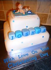 Christening cake (Dawnie's cakes) Tags: christeningcake babytopper patchworkblanket boyschristeningcake bluechristeningcake buildingblockscake
